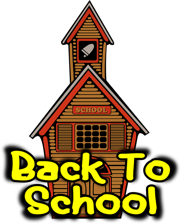 "Schoolhouse cartoon photo with text ""Back to School"""